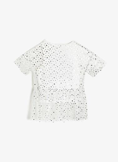 Koton Kids Koton Pul İşlemeli Yazılı Beyaz T-Shirt Ekru